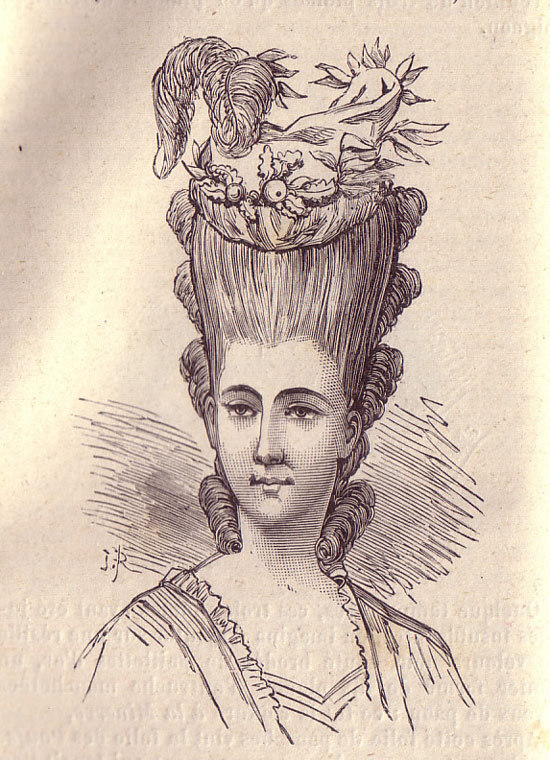 describes + depicts the hair,styles of French women throughout history ,, with particular reference to the startling and extravagant rococo stylings of